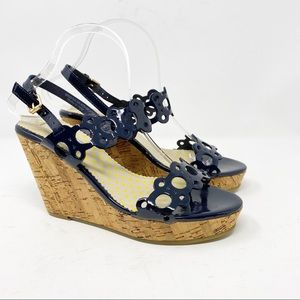 BODEN Navy Patent Leather Cork Wedges EUC in 7.5